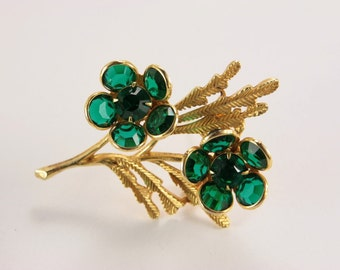 Vintage Green Brooch Bridal Bouquet Brooch Sash Pin Elvish Jewelry Pin Gardener Gift 1950s Unique Expensive Gift for Her Exclusive Jewellery