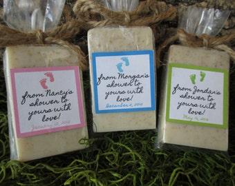 Baby Shower Favor Soap Footprint Oatmeal Honey Organic Soap Baby Shower Soap Favor Shower Baby Shower Gift Favor Soap Natural Gift Soap