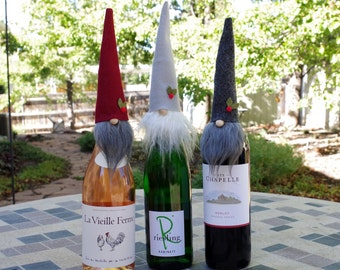 Wine Toppers TRIO, Christmas Holiday Gnome ALISTAIR the JOYFUL, Wine GIfts, Wine Covers, Nordic Gnome Wine Bottles, Liquor Gifts, Party Gift