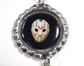 Jason Voorhees Mask Necklace w/ Sword Machete Charm FREE SHIPPING (Black Cord Necklace Included)