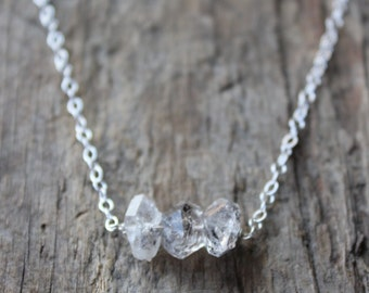 Herkimer Diamond Trio Necklace -Silver