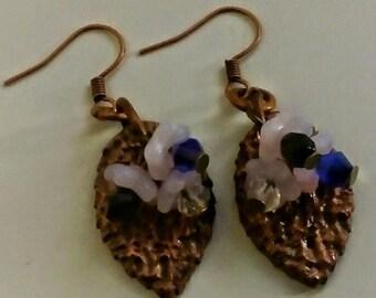 Copper leaves and glass flower earrings