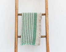 Rustic Linen Natural BATH HAND TOWEL with Emerald Green stripes 66cmx40cm