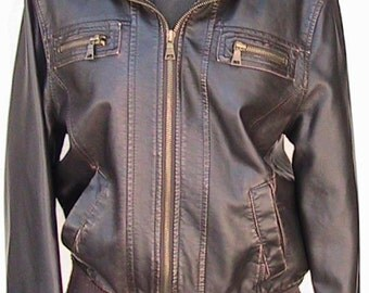 Medium VINTAGE 70s Faux Leather BOMBER Jacket