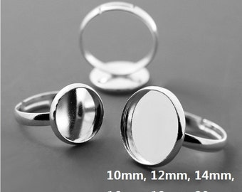 20pcs Silver Adjustable ring blank, Round Ring blanks, Brass Ring Settings, Ring Blank