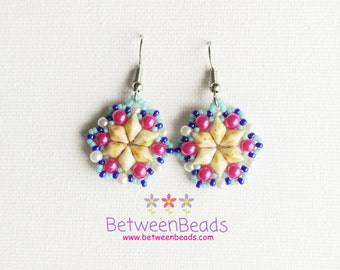 Star Earrings Pink Blue Hot Pink, Yellow Picasso, Bead Woven Beaded Women Gift Simple Unique Small Contemporary Earrings Geometrical OOAK