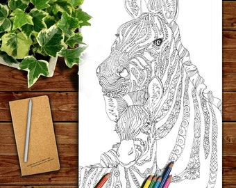 zebra clip art coloring pages printable adult coloring book hand drawn original zentangle colouring page for