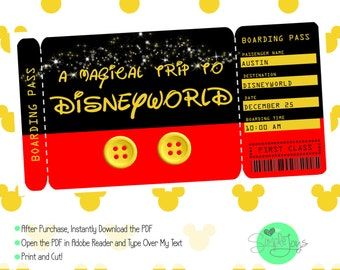 Printable Ticket to Disney (Disneyworld/Disneyland) Boarding Pass, Customizable Template, Digital File - You Fill and Print