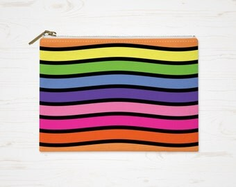 Rainbow Cosmetic Bag, Accessory Pouch, Colorful Pouch, Large Pencil Case, Small Makeup Bag, Rainbow Toiletry Bag, Orange Purple Purse
