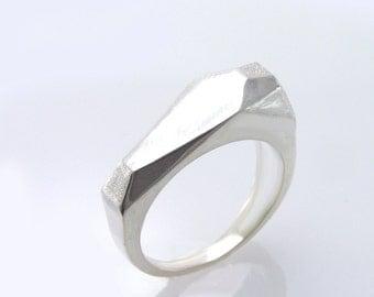 Signet Ring, Gold Signet Ring,Geometric Ring, White Gold Geometric Ring