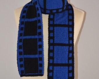Knit Blue Filmstrip Scarf Film Roll