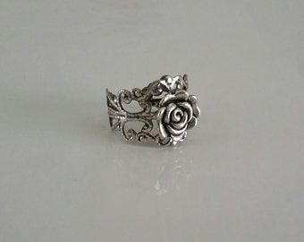 Rose Filigree Ring, Rose Ring, Adjustable Rose Ring, Spring Jewelry, Spring Accessory, Silver Rose Ring