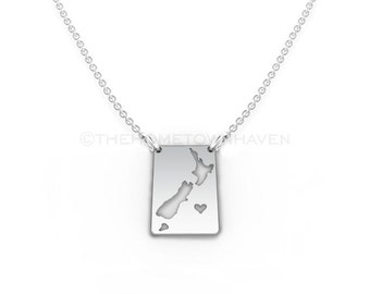 New Zealand Necklace - New Zealand map necklace, I heart New Zealand