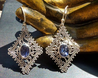 Faceted Iolite Earrings, Iolite, AAA Quality, Iolite Jewelry, Filigree Earrings, High Grade Gemstone, Water Sapphire, Ornate Jewelry, Violet