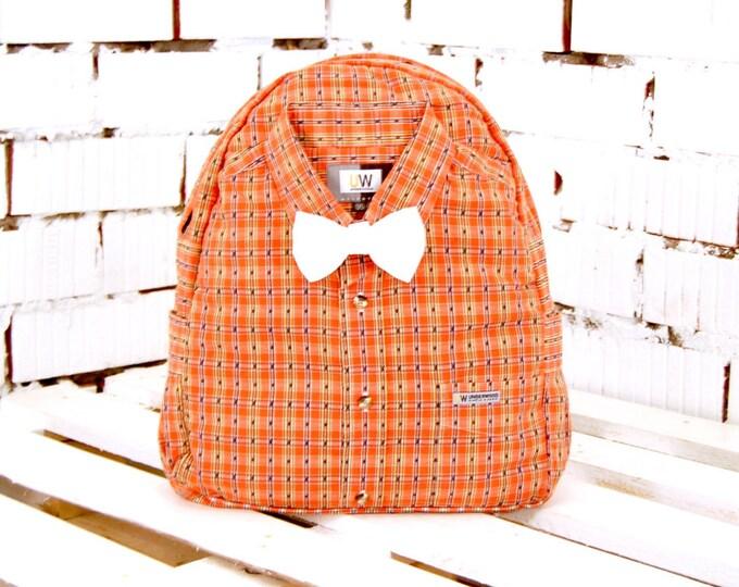 Orange backpack, fabric backpack, backpack with bow, cute backpack, city backpack, travel backpack, rucksack, hand backpack, unique backpack
