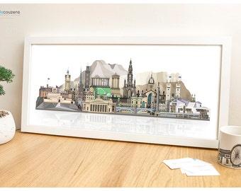 Edinburgh Art Print, Edinburgh Skyline, Edinburgh, Scotland, City Print, Scottish Art, Art Print, Edinburgh Print, Edinburgh Castle