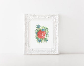 Fox art print> fox painting> woodland art> fox illustration> woodland art print> woodland illustration> nursery art> wall art> nature art