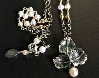 Pearl Wedding Necklace, Silver Leaf Necklace, Leaf Pendant, Pearl Necklace, Vintage Bridal Necklace, English Silver, UK Sellers Only
