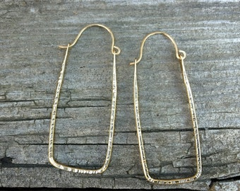 Rectangular Textured Hoop Earrings Sterling Silver Gold Handmade