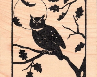 Owl & Moon Solid Northwoods Rubber Stamps Wood Mounted