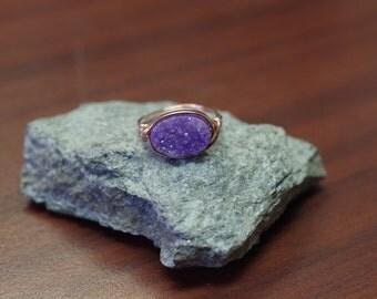 Lavender Purple Druzy Statement Ring