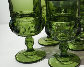 Set of 4 Indiana Glass Green Thumbprint or Kings Crown Goblets, Vintage Kings Crown or Thumbprint Wine Glasses, Large Size Green Thumbprint