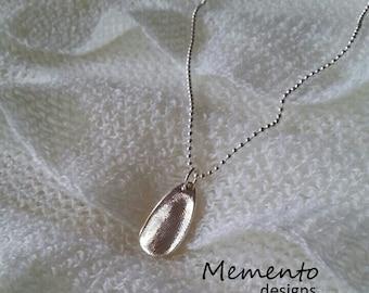 Fine Silver Teardrop Pendant Fingerprint Jewellery Keepsake