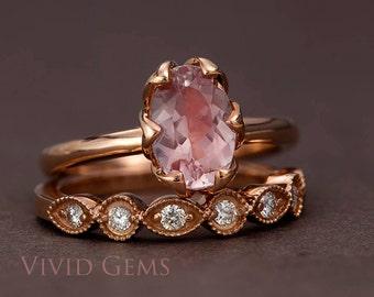 Rose Gold Morganite Ring Set, Oval Cut Pink Morganite Tulip Engagement Set and Diamond Rose Gold Band