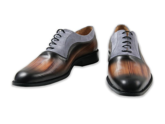 Leather man shoes, grey suede, wood effect, Oxford, hand painted (made in Italy)