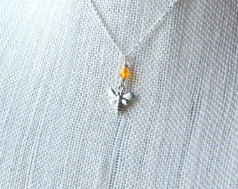 Honeybee Necklace, Silver Bumblebee Charm, Bee Pendant with Crystal Honey Drop, Sterling Bee Charm, Bee Jewelry, Bee Lover Bee Keeper Insect