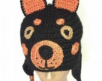 Doberman Pinscher, Dog Hat, Crochet Dog Hat, Crochet Animal Hat, Dog Lovers Gift, Doberman Hat, Rescue Dog Hat, Dobie Lovers, Doberman Lover