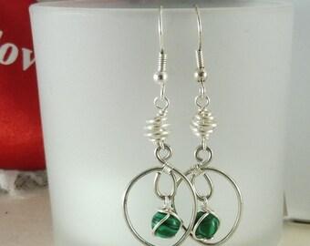 """Silver Malachite Earrings - """"Leaflet"""""""