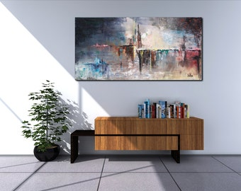 "SOLD*** ""Distraction"" Original Abstract Painting Large Modern Art Canvas 40 x 20 Gift Colorurful Acrylic Ready to hang by IceTee"