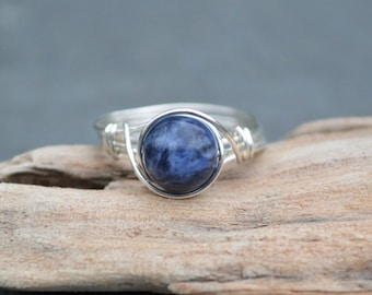 Sodalite Ring 925 - Wire Wrapped Ring - Self Worth, Confidence and Esteem - Boho Ring - Elven Ring - Brow & Throat Chakra - Sagittarius