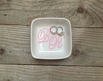 Monogrammed Jewelry Dish, Ring Dish, Personalized Ring Dish, Customized Jewelry Dish, Jewelry Dish, Co Worker, Jewelry Holder, Christmas