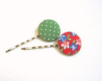 Green Red hair pins, Floral hair pins, Dotted hair pins, Green barrette, Teen girls hair pins, Floral barrettes, Pinup Girl hair accessories