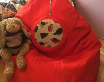 Cotton bean bag cover| Red bean bag chair| Beanbag chair cover| Kids beanbag| Housewarming gift| Toddler bean bag| Home decor| Kids seating