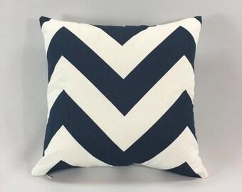 Navy Chevron Pillow Cover - Zippy Premier Navy Print - Decorative Throw Pillow Cover - Chevron Accent Pillow - Hidden Zipper - Custom Sizes