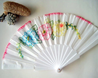 Hand embroidered fan.Fabric fan with plastic handle.Flowers pattern fan.Blue, black, white fan.Personalized fan (for example: a date,a name)