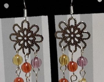Flower Shaped Multi-Color Dangle Earrings