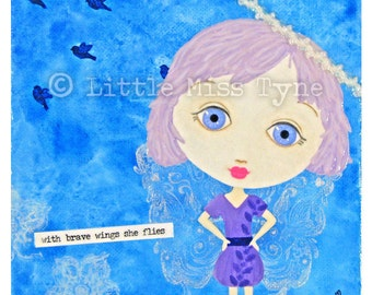 """With Brave Wings - Mixed Media Painting Original Canvas Art Decor - 6""""x6"""""""