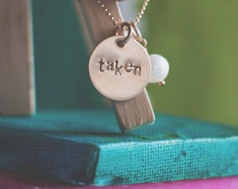 Personalized One Little Word, Name or Date Necklace  {Hand Stamped 14k Gold Fill}