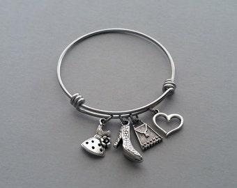 Love To Shop Charm Bracelet, Shopping Bracelet, Shopping Bangle, Dress Charm, Shoe Charm, Purse Charm, Heart Charm, Stainless Steel
