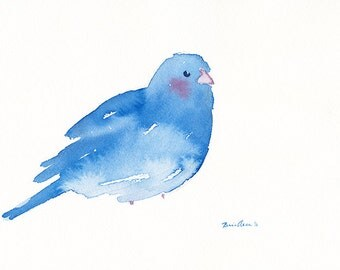 Blue Blushing Bird, Original Watercolor Painting, 7 x 10.25 inches, Blue, White