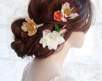 bridal headpiece, floral hair pins, bridal hair clip flower, peach pink, ivory flower hair pins, rustic wedding hair accessories, hair clips