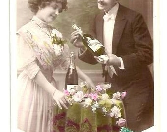 Vintage- 1914- LOVERS, CHAMPAGNE's BOTTLES - Black Tie, Long Dress - French real Photo Postcard- written, stamp - Tiny mark left top corner