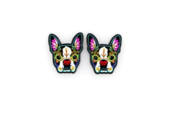 Boston Terrier Day of the Dead Sugar Skull Dog Earrings