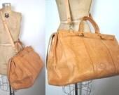 1980s Leather Tooled Bag / weekender duffel