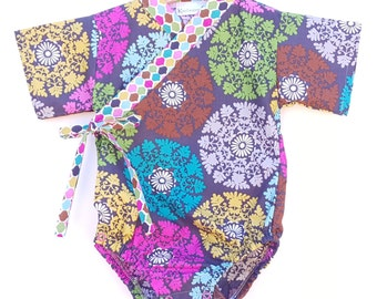 Baby Kimono Bodysuit - Jewel Lace - Baby summer outfit - asian japanese jinbei onesie
