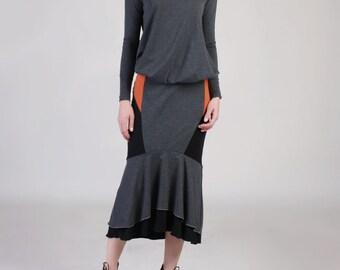 Fishtail  Midi Skirt, Fit and Flare Skirt, Peplum Pencil Skirt, Ruffle Hem Skirt, Mermaid Skirt, Color Block Skirt, Gray Long Skirt